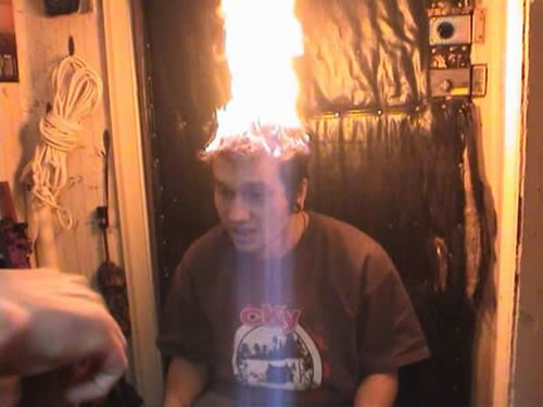 Fred (Flaming Freddy of Facebook fame) Freedman is seen here performing one of his hysterical fire tricks for his Facebook fans. This particular stunt landed him in the hospital for seven weeks where he had to endure hundreds of hours of painful skin grafts.